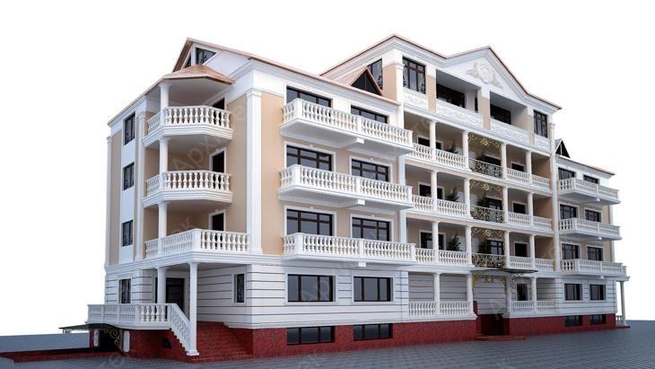 Архитектурный фасад здания с декоративной лепниной